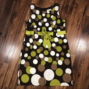 Kim Rogers brown green polka dot dress 12P
